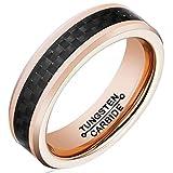 Beglie Unisex Ringe Wolfram Poliert Kohlefaser Bicolor Trauringe Hochzeit Ring Eheringe für Herren Schwarz Rosengold 6MM Bandring mit Gratis Gravur Größe 60 (19.1)