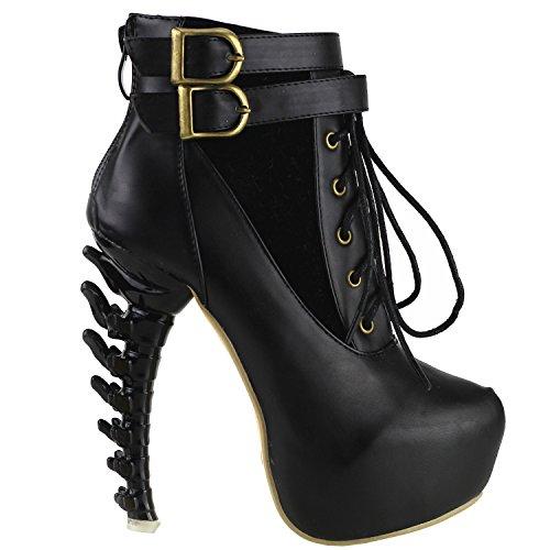 Show Story schwarzer Spitze Schnalle High-Top Knochen High Heel-Plattform-Ankle-Boots, LF40601BK38, 38EU, schwarz (Spitze Schwarz-plattform)