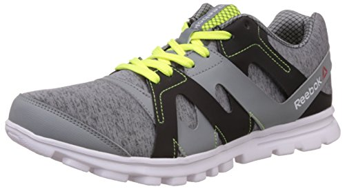 Reebok Men's Electro Run Flat Grey, Matt Silver and Neon Yellow Running Shoes