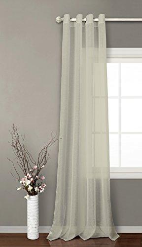 Tende trasparente con 8 ollao (1 pannello, 140 x 260) per soggiorno e camera. tenda di 140_x_260_cm. modello clara (sabbia)