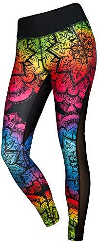 FeelJ! Leggings Deportivos para Mujeres | Largos | Opaco | Paneles de Malla | Yoga | Pantalones de Fitness | Streetwear | Ropa de Deporte, Größe:S, Farbe:Mandala