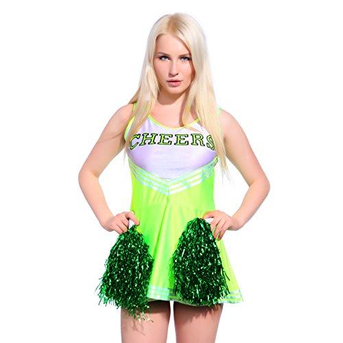 Anladia Mädchen Cheerleader Kostüm Dame Halloween Kostüm Kleid Cheerleading Bekleidung mit 2 Pompoms Grün