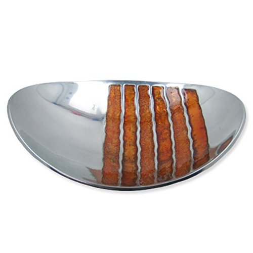 Metall gebogen Candy Gericht Platte mit Braun Streifen Design