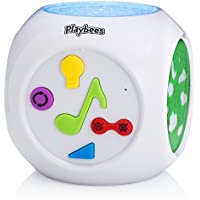 Playbees Máquina de Sonidos para Bebés y Proyector Nocturno, Proyección de Formas y Estrellas Activada por Sonido con Música de Naturaleza Tranquilizadora y Nanas Clásicas, cable auxiliar