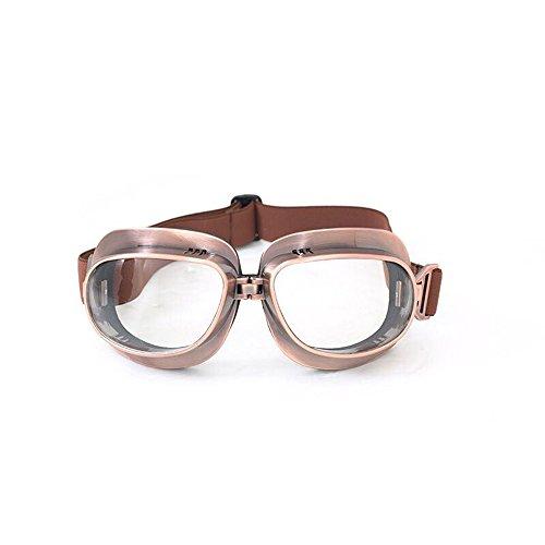 FLKAYJM Vintage Motorradbrille Schutzbrille Retrodesign Augenschutz Brille,Bronze/Gelb Brillenglas