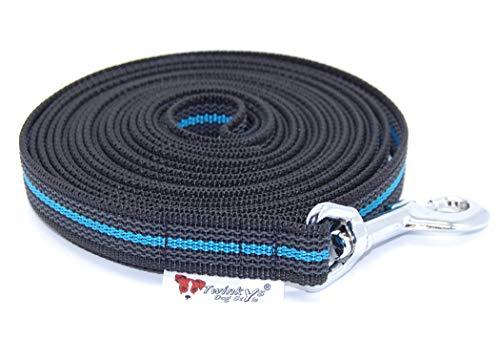 Twinkys Dog Style Schleppleine gummiert 20 mm Breit 15 Meter Schwarz Blau für Hunde bis 50 kg Mit Handschlaufe