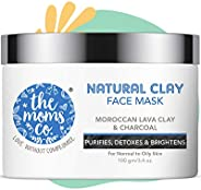 The Moms Co. Natural Clay Face Mask with Moroccan Lava Clay & Activated Charcoal | Control Acne, Tighten P