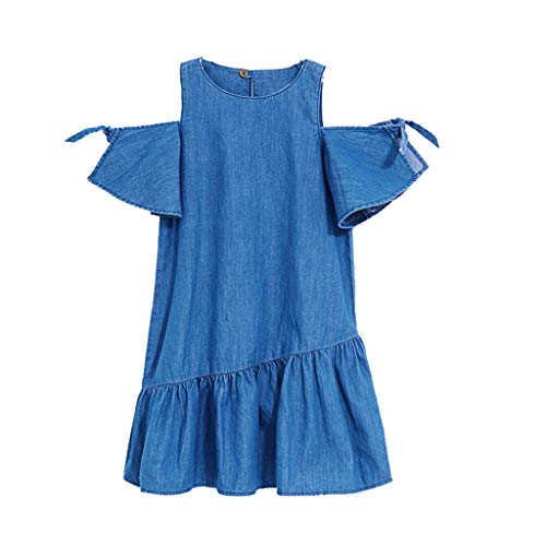 JUTOO Kleinkind Kid Baby Girl Denim Schulterfrei Kleid Kurzarm Party Kurze Minikleider ()