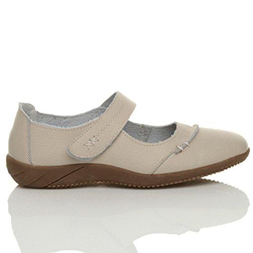 Sandales marches femmes confortables décontractées larges cuir velcro taille Beige chair