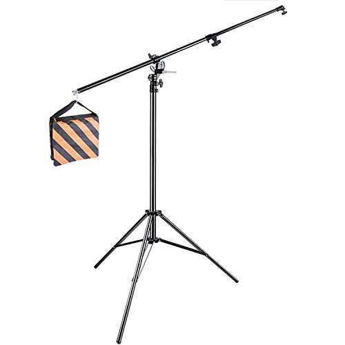 neewerr-10ft-305cm-two-way-rotable-aluminum-adjustable-tripod-boom-light-stand-with-sandbag-for-stud