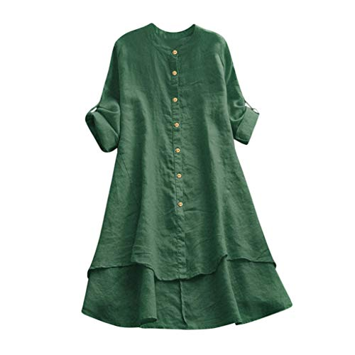 VJGOAL Damen Kleid, Damen Lässige Retro-Baumwolle und Leinen Knopf Lange Tops Bluse Lose Lange Ärmel Mini Hemd Kleid (46, X-Baumwolle-Grün)