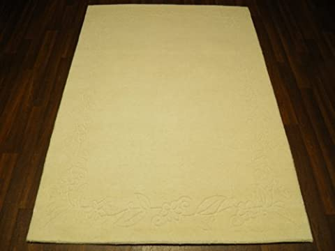 Cream Indian Hand Tufted Textured 100% Wool Rug 120cm x 170cm Approx 6x4