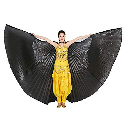 Wuchieal Bauchtänzerin Isis Wings Halloween Darstellende Angel Wings für Carnival Einschließlich Stöcke/Tasche (Schwarz, One Size)