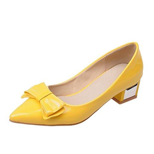 Mee Shoes Damen süß Schleife spitz Niedrig Geschlossen Pumps Gelb