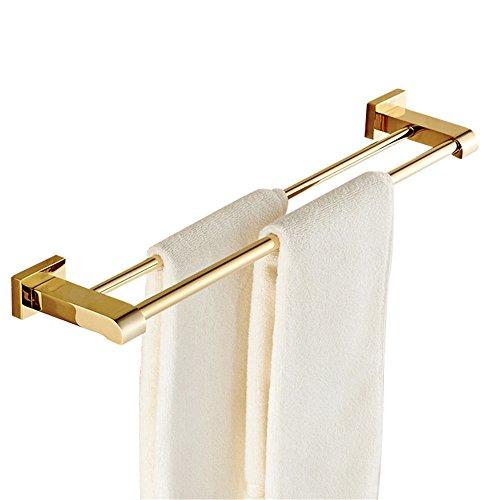 Weare Home Doppel Handtuchstange Handtuchhalter für Badezimmer Dusche Küche aus Hochwertig Alle Messing Luxus Poliert Gold finished Wandmontag Bohren Deko Design Modern, 60cm -