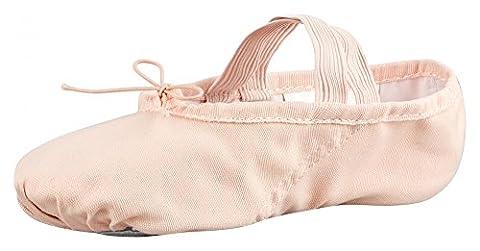 tanzmuster Ballettschuhe / Ballettschläppchen aus Leinen, geteilte Ledersohle, rosa-apricot,