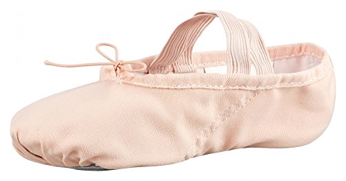 tanzmuster Ballettschuhe / Ballettschläppchen aus Leinen, geteilte Ledersohle, rosa-apricot, Größe:28