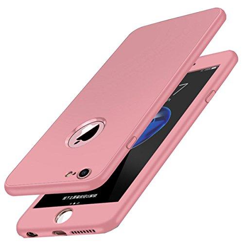 Carcasa iPhone 7, Qissy® 360 Todo incluido TPU Silicona Flexible Anti-Scratch Anti-huella dactilar a prueba de choque Suave Protective Case Cover Skin para iPhone 7 4.7'' (Rosado)