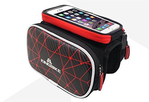 """Holzsammlung® Fahrradtasche Rahmentaschen, Fahrrad Rahmentasche Frarradschnalletasche mit zwei Fäche, geeignet für Handy mit Größe unten 5,5"""", Farhradlenkertasche Fahrradtasche Lenker #2"""