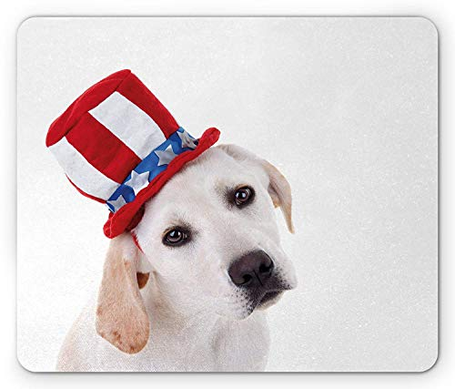 WYICPLO 4th of July Mouse Pad, Cute White Dog with a Uncle Sam Hat Independence Day Celebration, Standard Size Rectangle Non-Slip Rubber Mousepad, Multicolor Guy White Hat