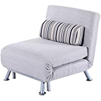 HOMCOM Single Sofa Bed Sleeper Foldable Portable Pillow Lounge Couch Living Room Furniture Minimalist Style