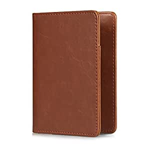 KATUMO Reisepass Schutzhülle-4.0 Zoll Premium Kunstleder Passhülle Hülle für Reisepass, Visitenkarten, Bordkarten, SichererKreditkarten, Braun