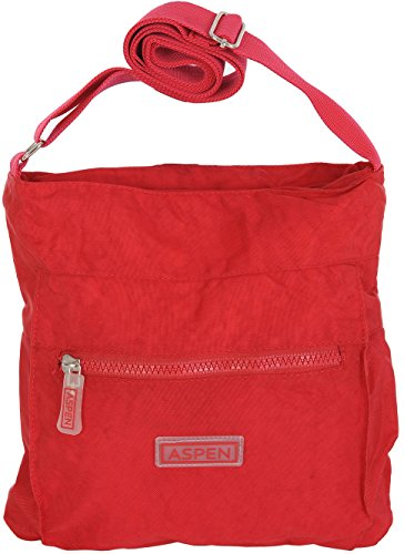 Aspen, borsa a tracolla leggera da viaggio con cerniera, CN2840 Rosso