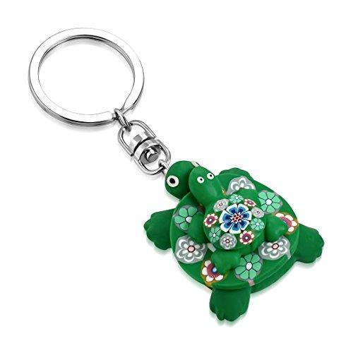 Schlüsselanhänger Clay (Mode-Legierung Fimo / Polymer Clay Blumen Mom & Baby Meeresschildkröte Charm Schlüsselanhänger)