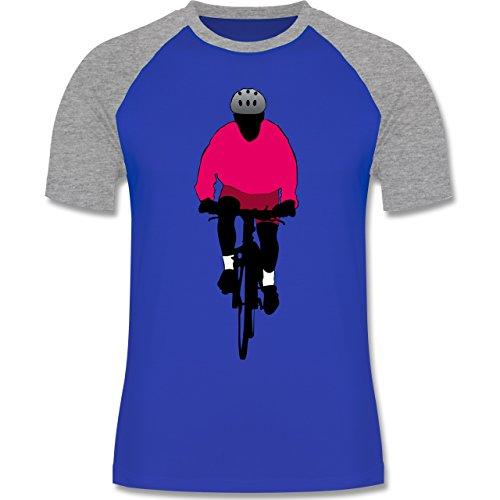 Radsport - Mountainbike Fahrrad - zweifarbiges Baseballshirt für Männer Royalblau/Grau meliert