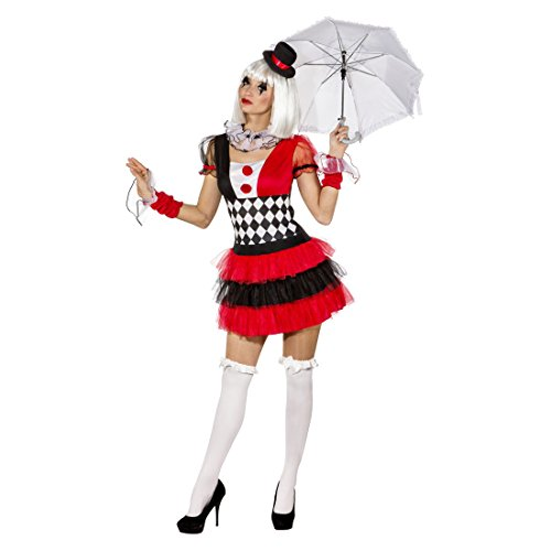 tüm Damen Harlekin Kleid 38/40 (S/M) Clown Damenkostüm Clownskostüm Frauen ()