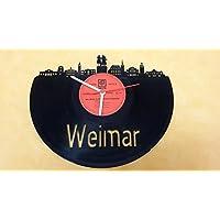 Wanduhr Uhr Skyline Weimar Silhouette Chronometer aus original Vinyl Schallplatte Upcycling Design Uhr Wand-Deko Wand-Dekoration
