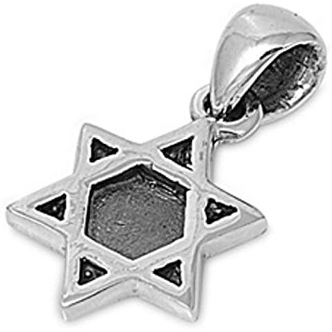 Sterling Silver Star Pendant ebraica 925