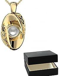 Golfschmuck Golf Schmuck Gold Kette Akoya Perle weiß 750 + inkl. Luxusetui + Akoya Perle weiß Kette Gold Perlenkette Anhänger Gold Halskette (Gelbgold 750) - Symbiosis AM252 GG750PWPE