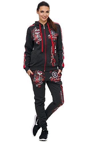 Violento Damen Jogging-Anzug | Sailing Club 701 (S-fällt groß aus, Antra/Rot)