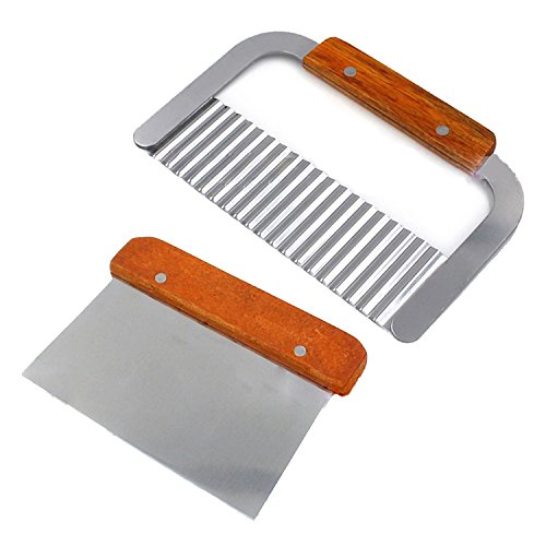 Buynew-Pack of 2 Stainless Steel Wavy & Straight Soap Mold Loaf Garnish Cake Cutter Cutting Tools