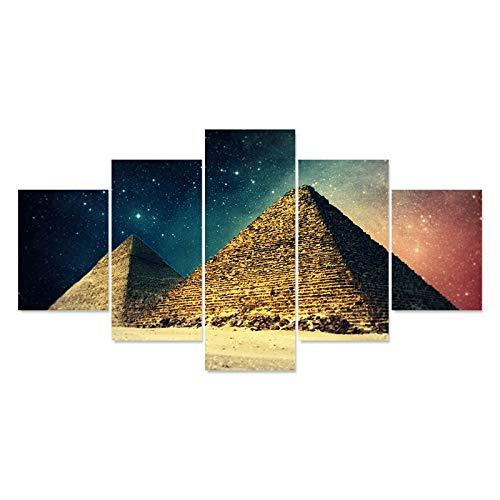 mmwin HD Gedruckt Moderne Abstrakte 5 Panel Pyramide Schöne Himmel Tableau Wohnkultur Zimmer Poster Leinwand Wandkunst Bilder -