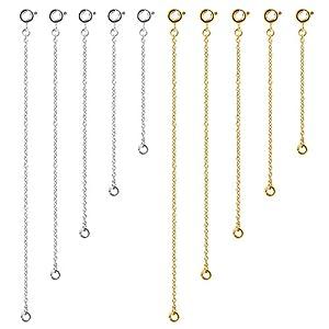 Naler 10 X Verlängerungskette Halskette Extender Kettchen für Kette Armband, 2-6 Zoll