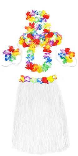 ck mit Hula Lei Blumenkette Fancy Dress Party Kostüm-Set, 5-teilig, Weiß, Einheitsgröße (Freude Fancy Dress)