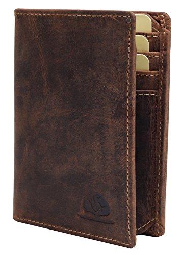 Greenburry Vintage Dokumentenmappe Leder Ausweismappe braun mit RFID Schutz