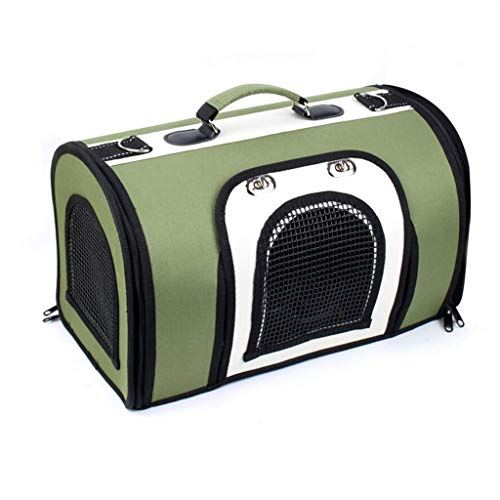 YULAN Tragbarer Haustier-Kasten-faltender Käfig, der diagonale Katze und Hund trägt Tragbares Reise-Transport-Auto aus Lieferung 3 Farben heraus (Color : Green, Size : 38 * 22 * 25cm) - Hunter Green-drei Taschen