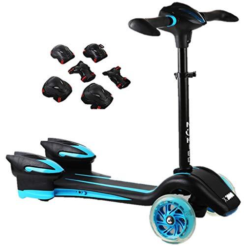Patinetes Scooter para niños con Equipo de protección, Ruedas para encender Patines Scooter con Cubierta Ancha y manija Ajustable, Negro (Color : Azul)