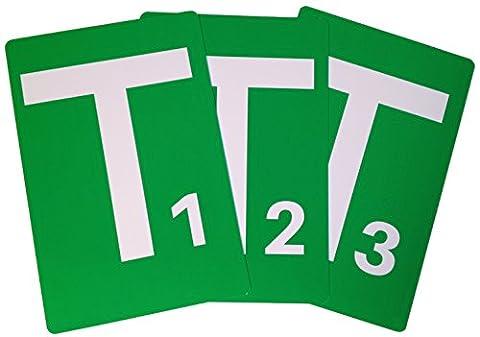Handball Team-Time-Out-Tafel 3er Set, A5, PVC mit abgerundeten Ecken, nummeriert von 1 bis 3 gem. Handballregeln