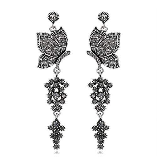 Demarkt Ohrringe Retro Schmetterling Ohrringe Vintage Ohrhänger Schwarz 8x2,2CM
