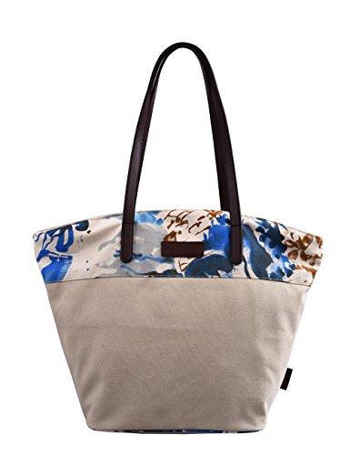 Douguyan Donna Borse Shopper Tela Spiaggia Cotone Ragazza Borse A Spalla Borsetta Blu E62806