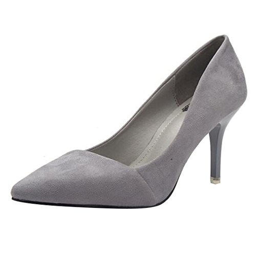 Mujer Zapatos de Tacón con Punta Cerrada Clásico Trabajo Medio High Heel Shoes Ante Zapatos de Tacón Fiesta Juleya Grey 36EU