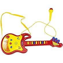 MEDIA WAVE store Chitarra giocattolo BABY ROCK 104008 con microfono funzionante con luci e suoni (Rosso)