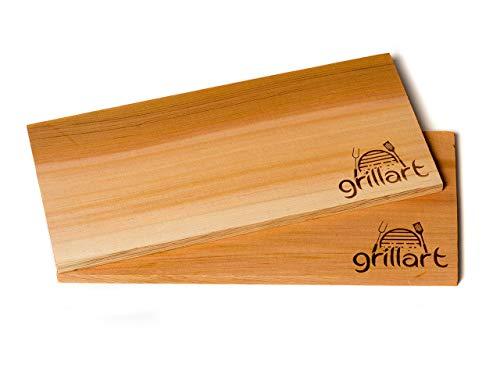 41x8iUl1cUL - 6 Pack XL Grillbretter - Zedernholzbrett zum Grillen - Räucherbretter aus Zedernholz von grillart® hergestellt aus 100% natürlichem Western Red Zedernholz für einen besonderen Grillgeschmack