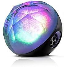 Altavoces inalámbricos Bluetooth portátil LED de color luces inalámbrico Bluetooth estéreo apoyo TF tarjeta y Control Remoto (para iphone, Samsung, Tablet, ordenador portátil, iPad y otros reproductores de música), color negro
