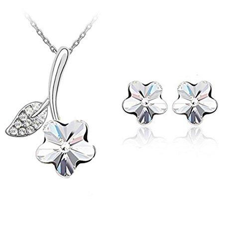 Parure fleur cristal swarovski elements plaqué or blanc Blanc