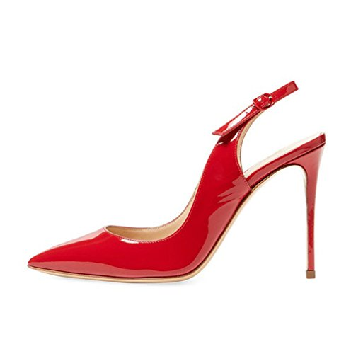 Slingback Heels (EDEFS Damen Sandalen High Heels Slingback Stiletto Pumps Party Rot Größe EU37)